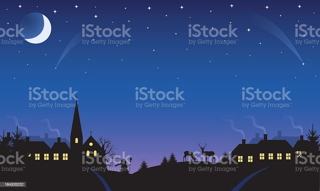 A landscape of a village at night royalty-free stock vector art