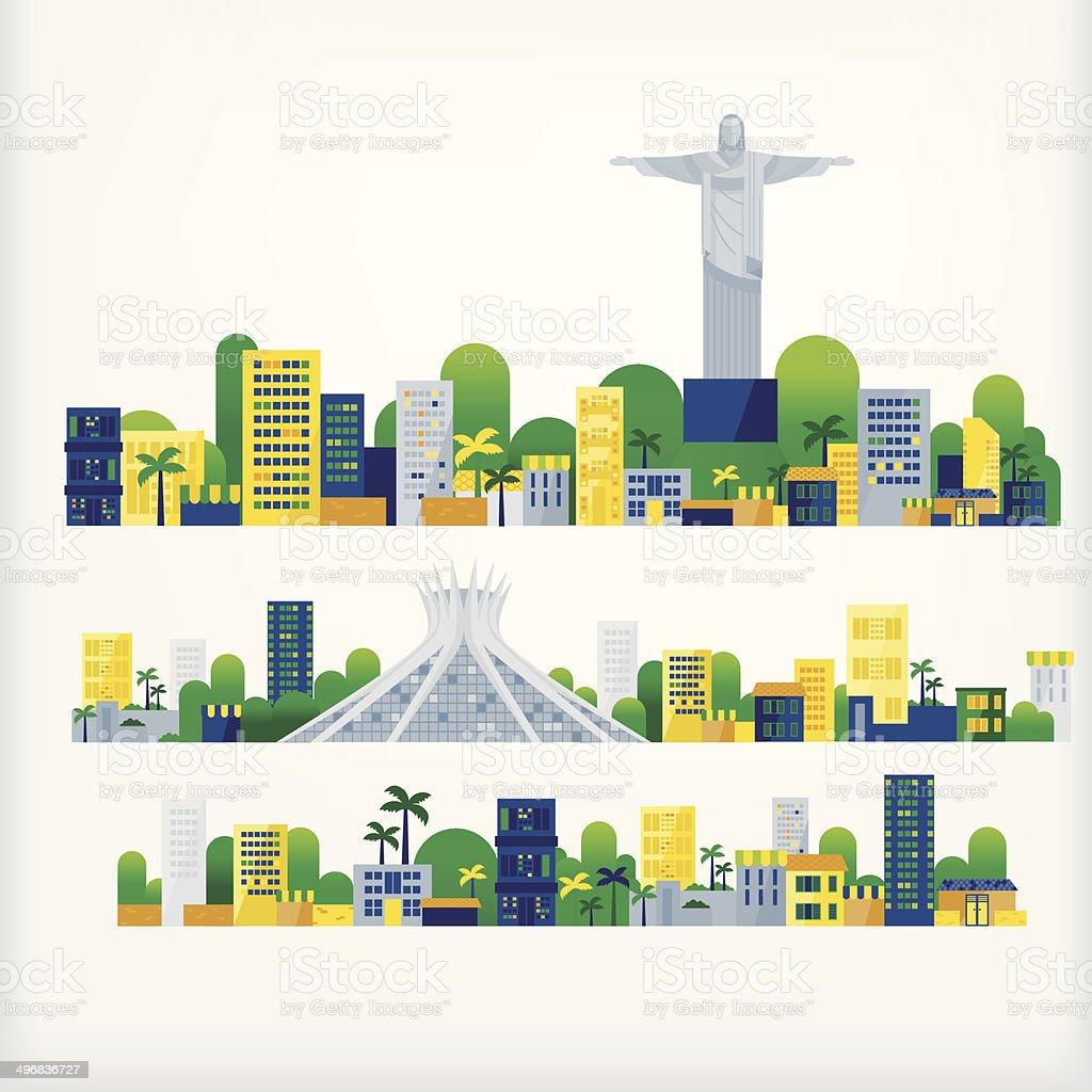landscape of brazil vector art illustration