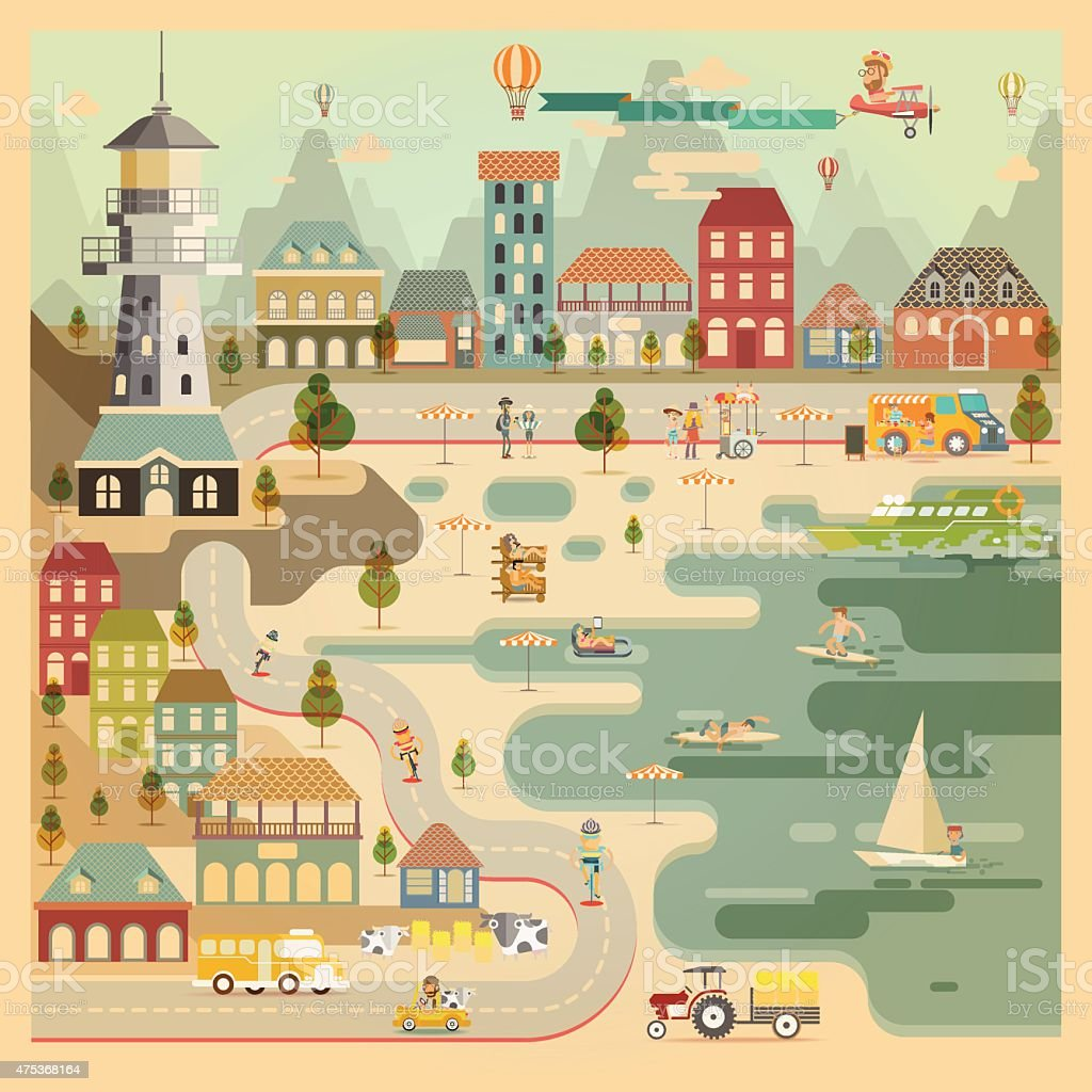 Landscape of countryside harbour village vector art illustration