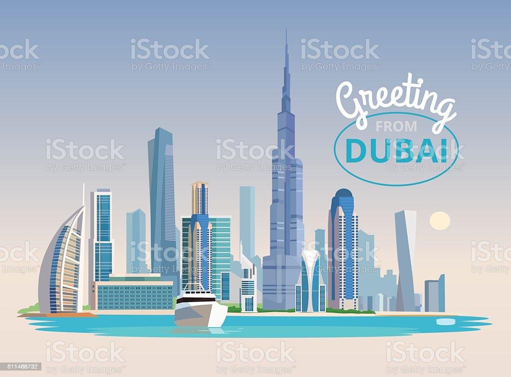 Landscape of Dubai. Vector flat illustration vector art illustration