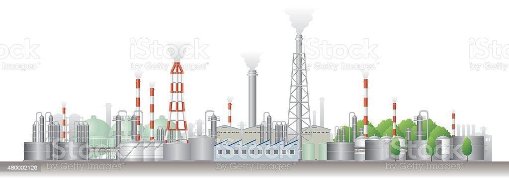 Landscape of factory vector art illustration