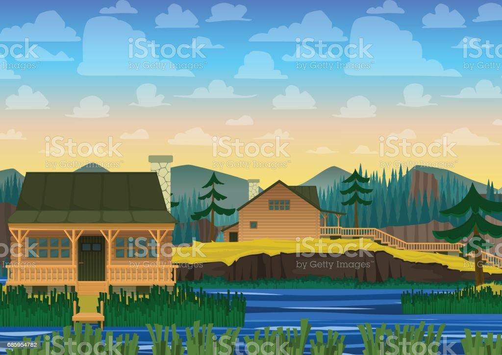 Landscape of house on river. Vector illustration in cartoon style. vector art illustration