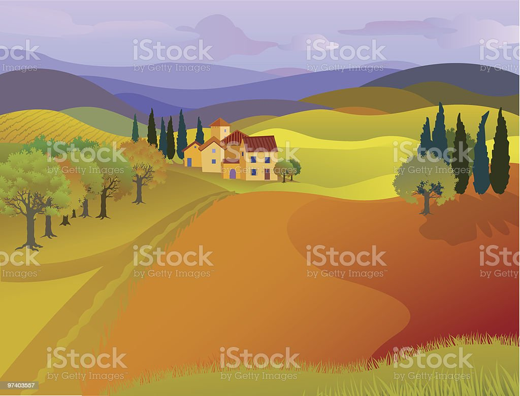 Landscape of House with Rolling Hills and Pastures vector art illustration