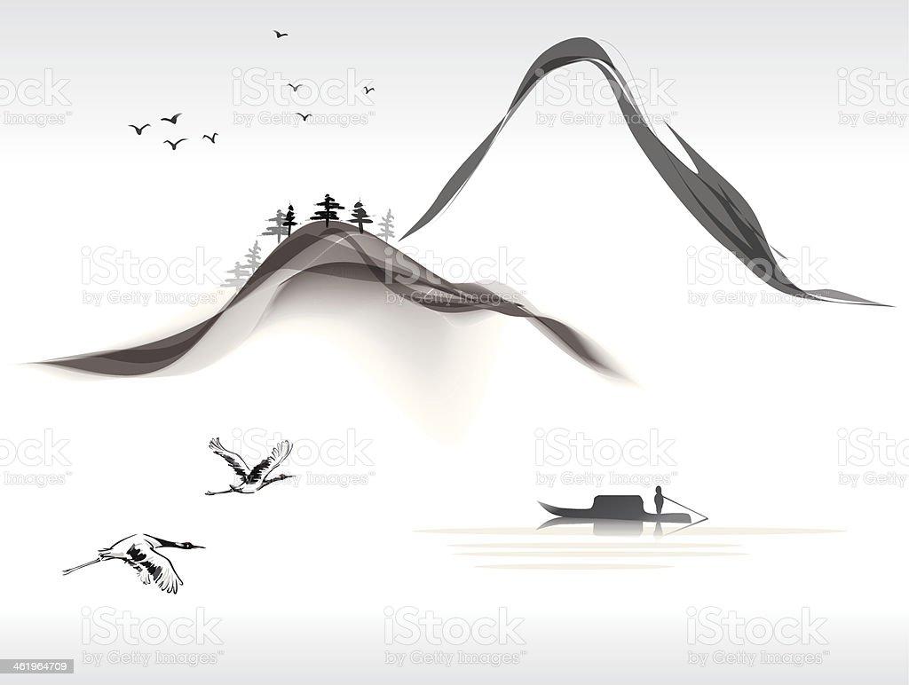 landscape painting vector art illustration