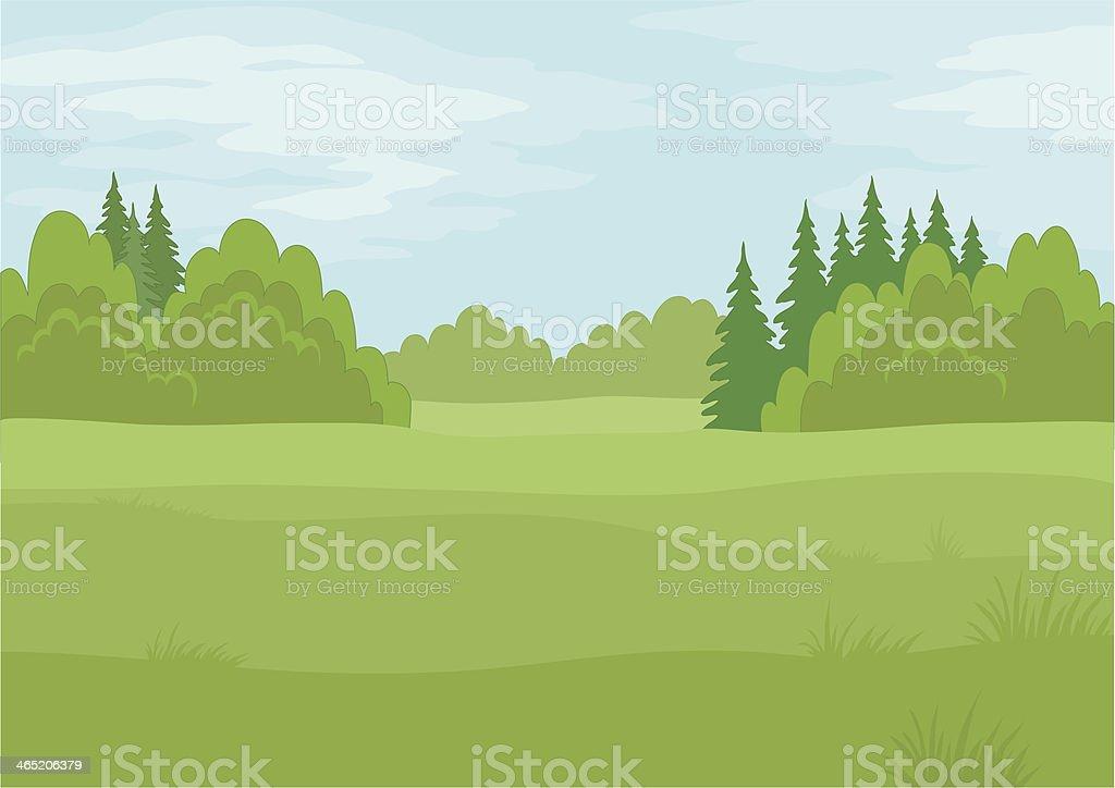 Landscape, summer forest vector art illustration