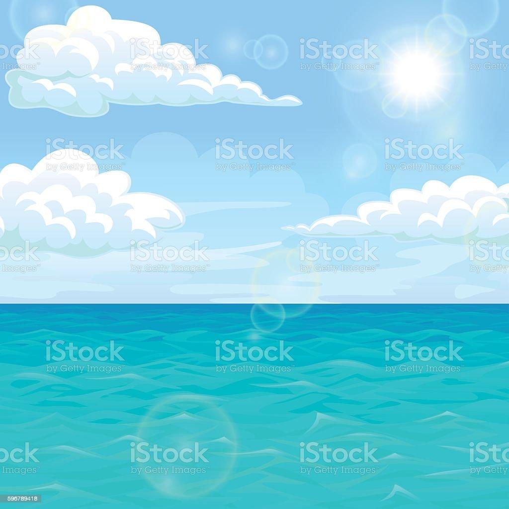 Landscape summer sea in the afternoon under sun vector art illustration