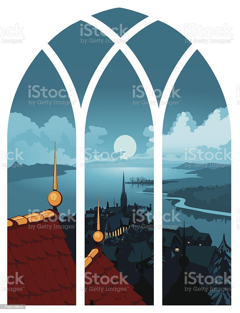 Landscape Town Window View vector art illustration