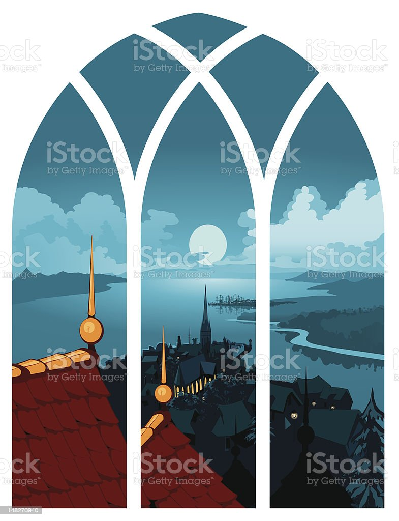 Landscape Town Window View vector art illustration