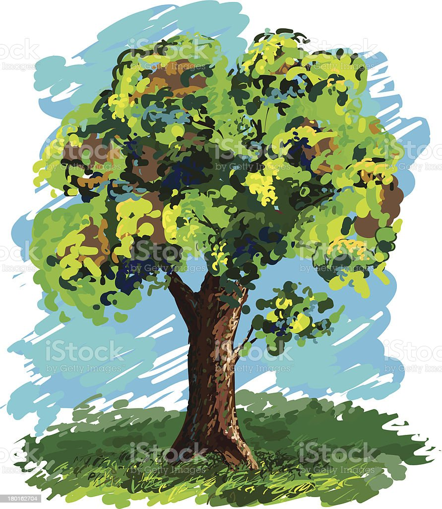 Landscape, tree royalty-free stock vector art