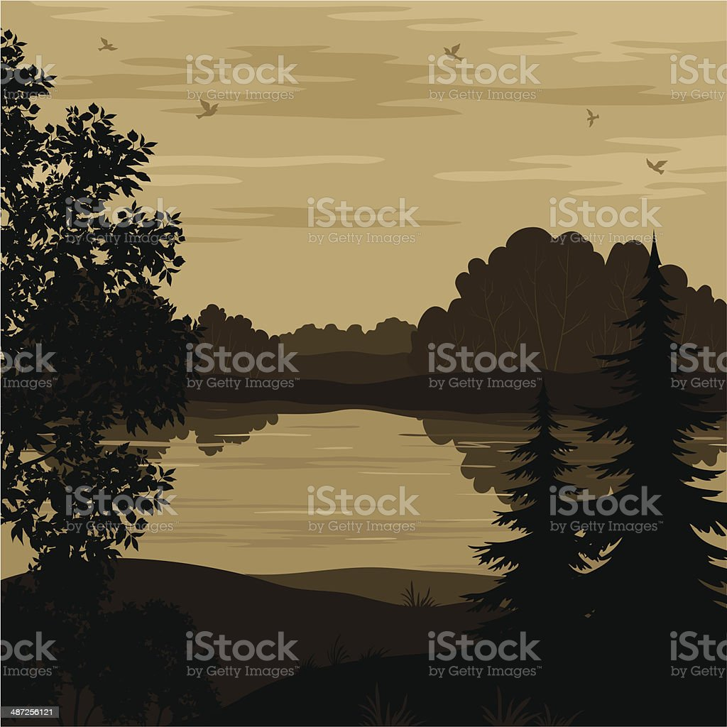 Landscape, trees and river silhouette royalty-free stock vector art