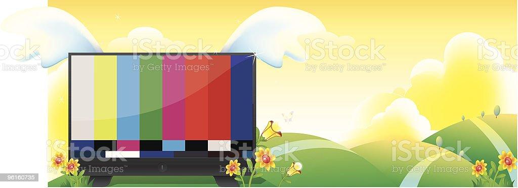 Landscape TV Scene cartoon vector art illustration