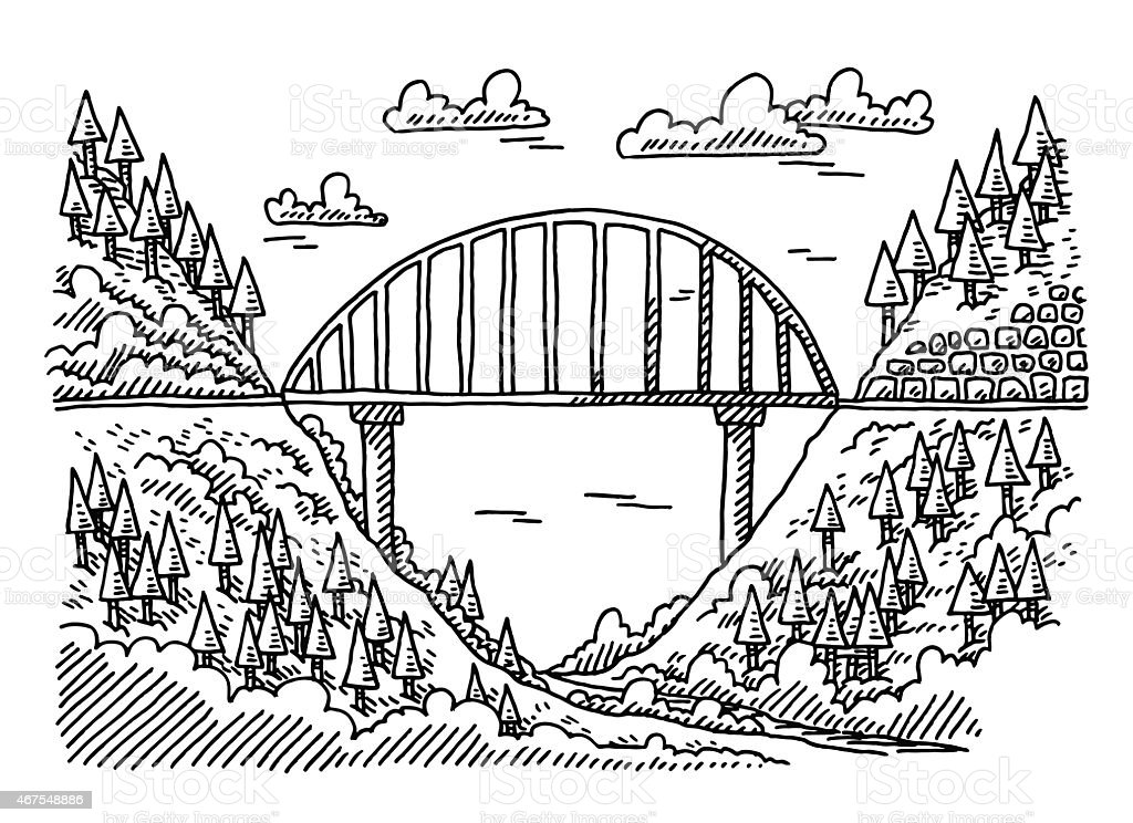 Landscape Valley Nature Bridge Drawing vector art illustration