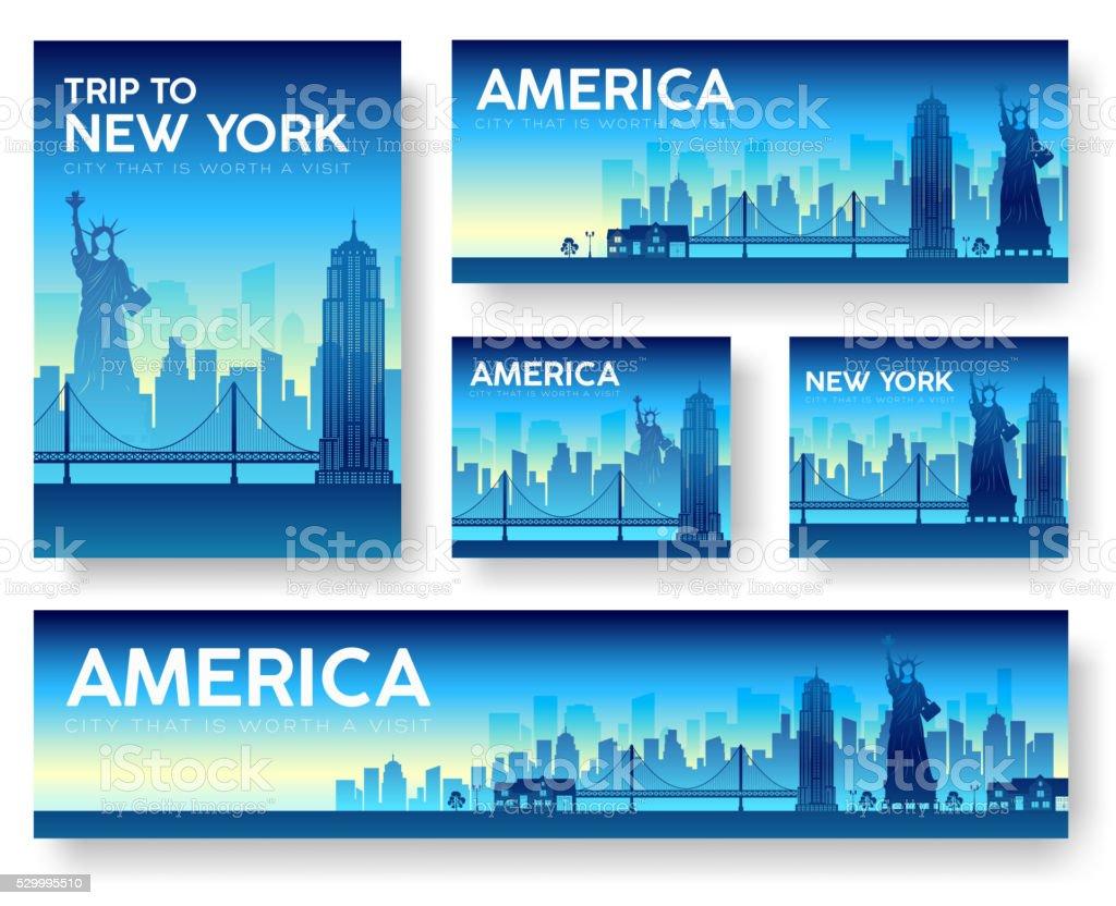 USA landscape vector banners set vector art illustration