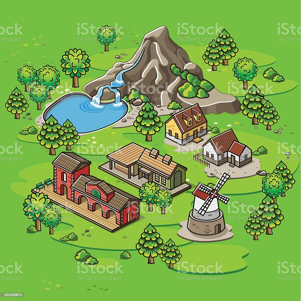 Landscape vector art illustration