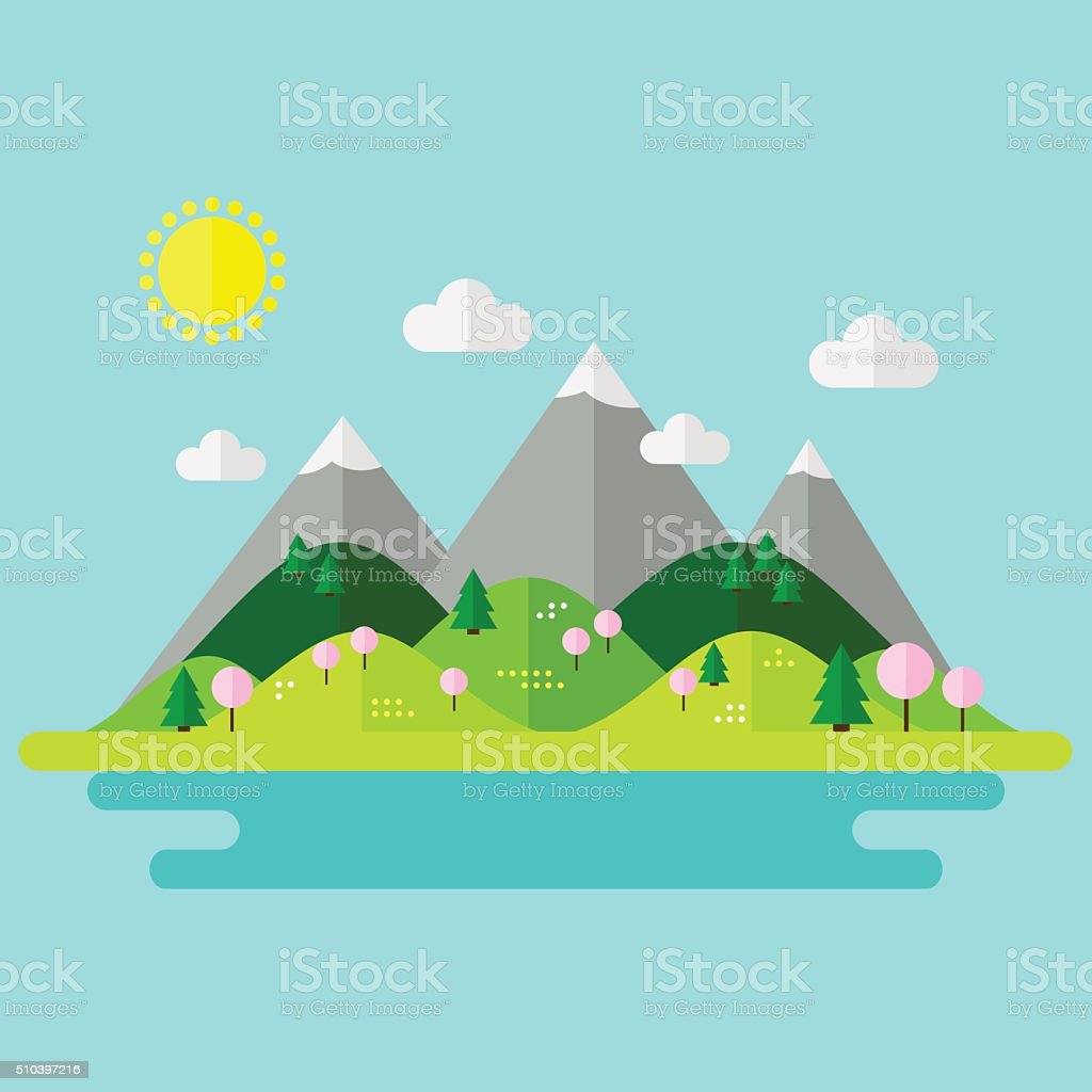 Landscape. Isolated nature landscape with mountains, hills. river and...