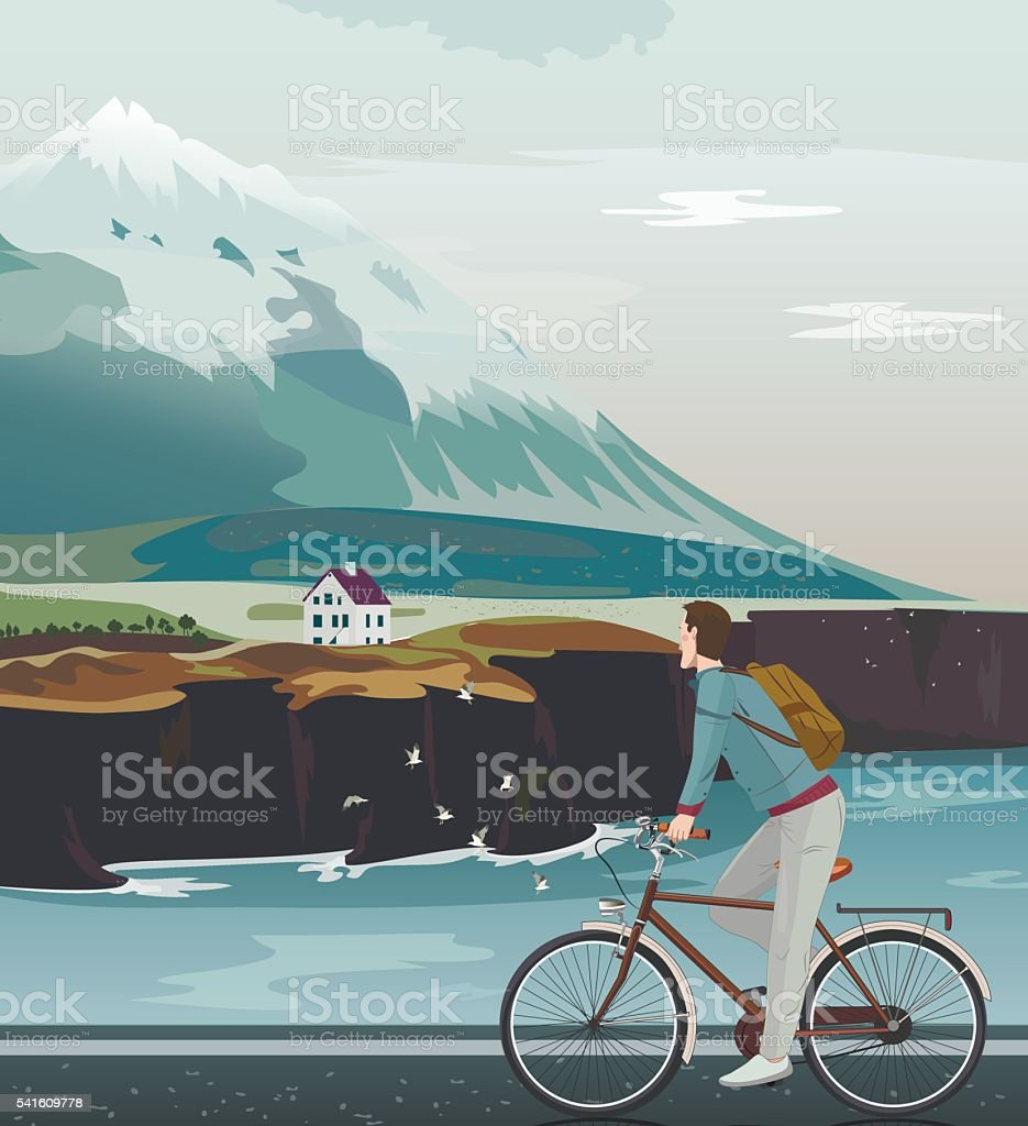 Landscape with a high mountain. Man on bicycle riding road. vector art illustration