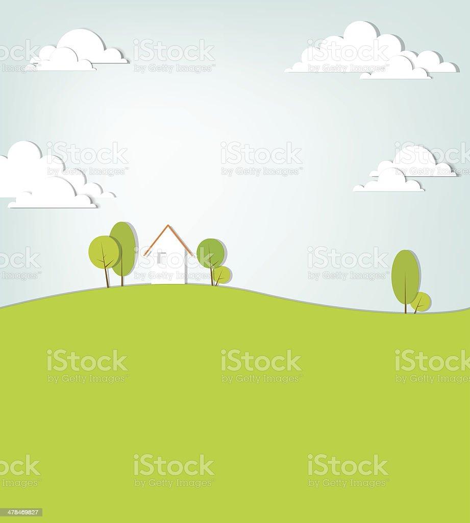Paysage avec Maison sur la colline stock vecteur libres de droits libre de droits