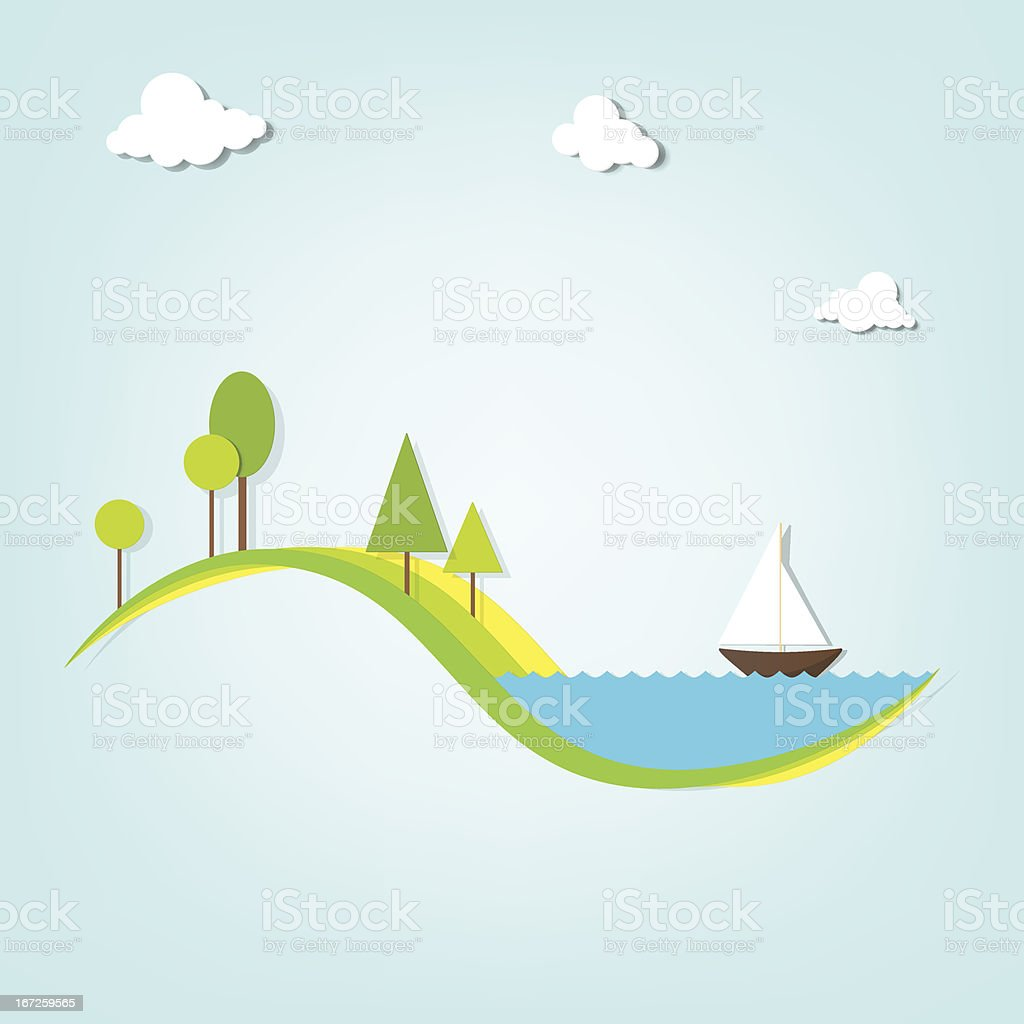 landscape with a lake, trees, and the ship royalty-free stock vector art