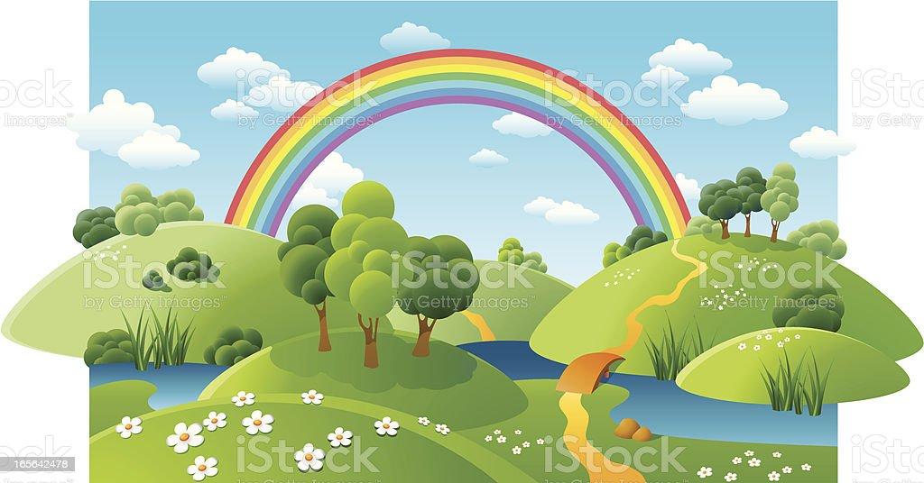 landscape with a rainbow vector art illustration