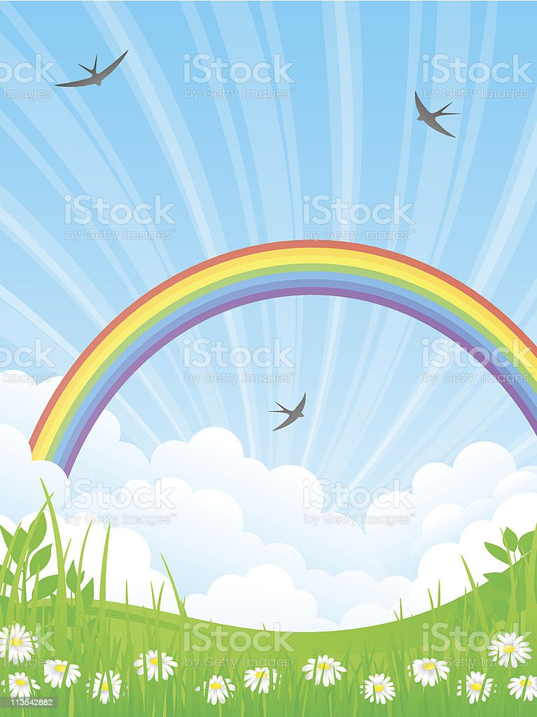 Landscape with a Rainbow. Vector illustration. royalty-free stock vector art
