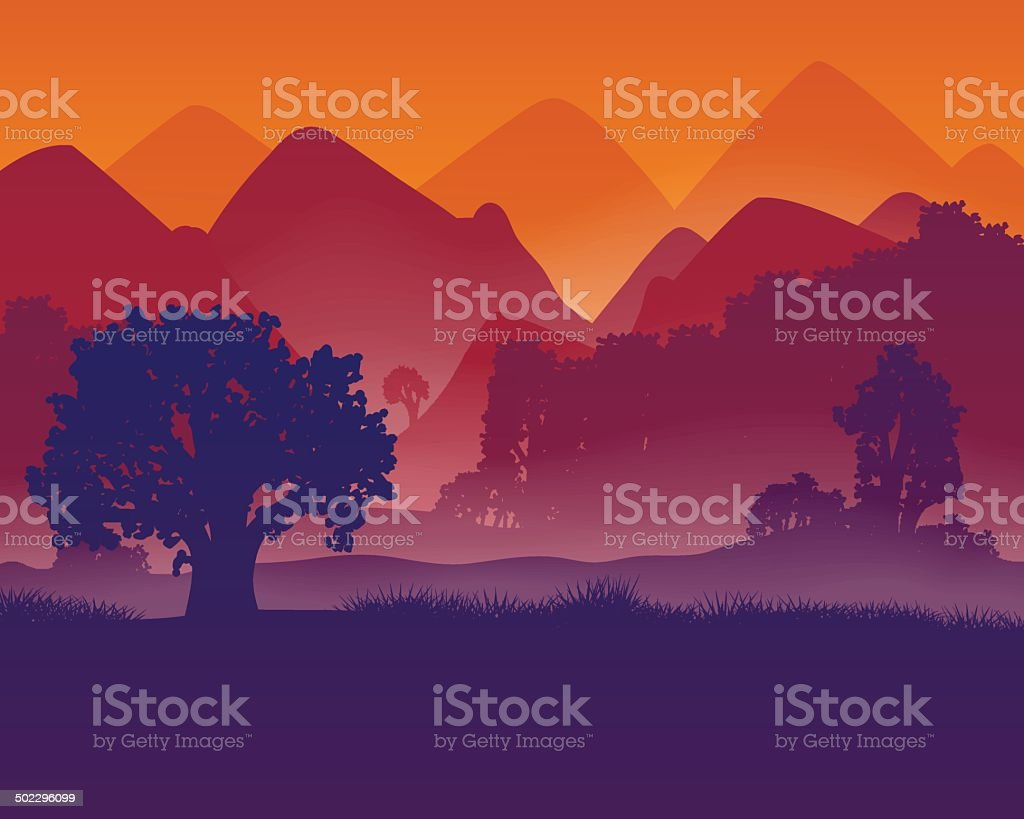 Landscape with aerial perspective vector art illustration