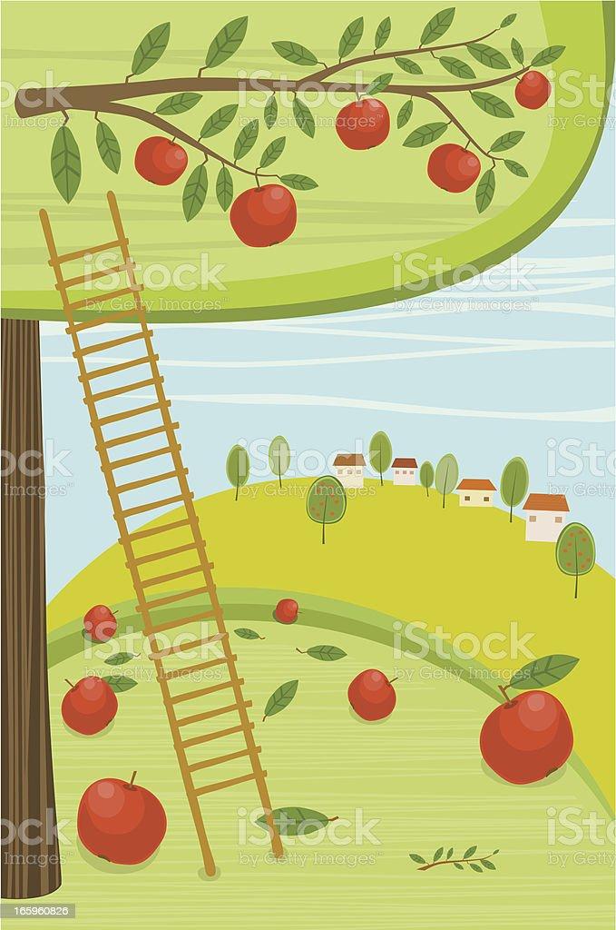 Landscape With Apple Tree vector art illustration
