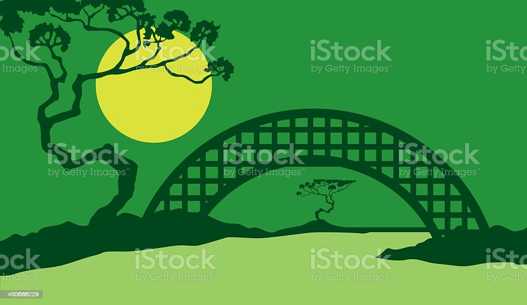 Landscape with Bridge royalty-free stock vector art