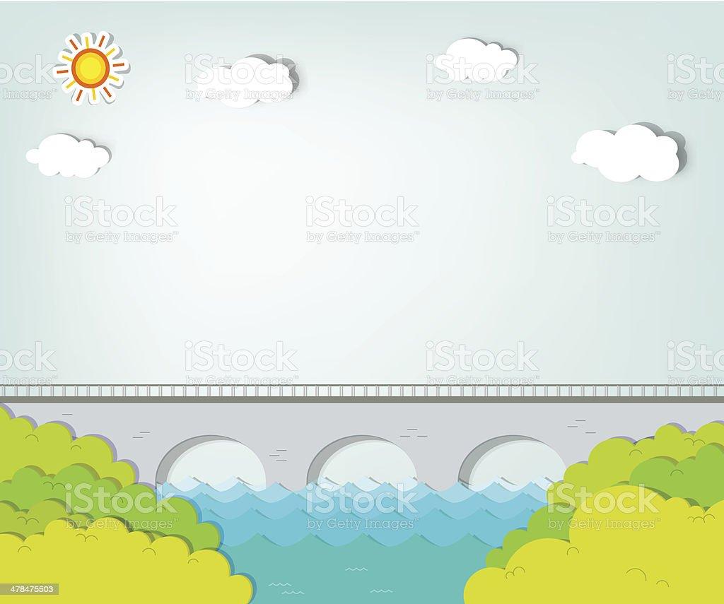 Paysage avec pont stock vecteur libres de droits libre de droits