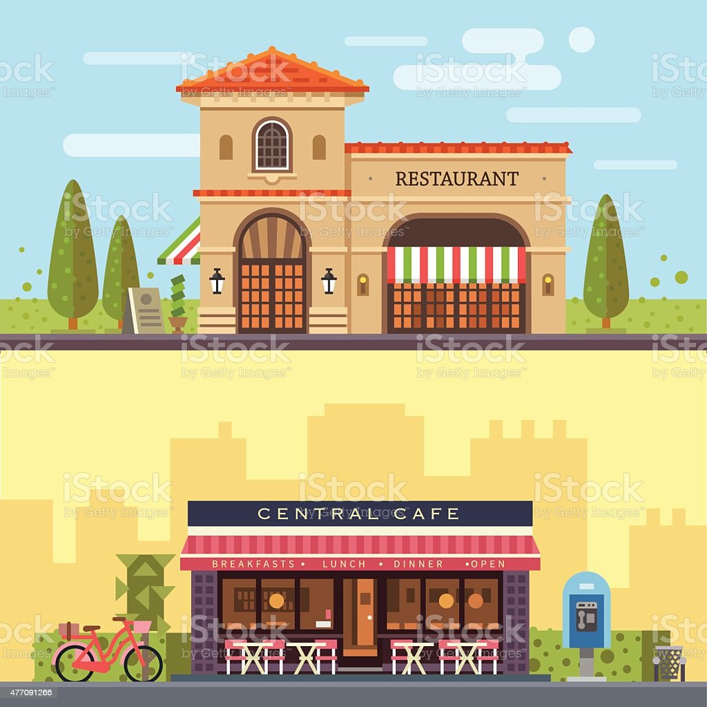 Landscape with buildings restaurant and cafe vector art illustration