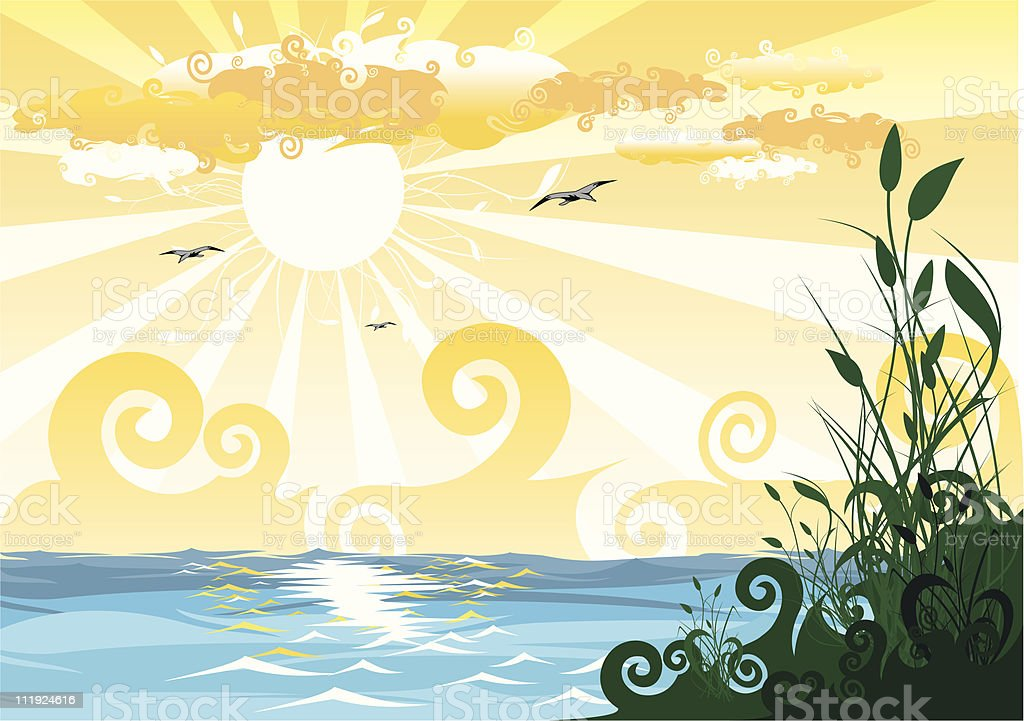 landscape with bulrush, sun and water royalty-free stock vector art