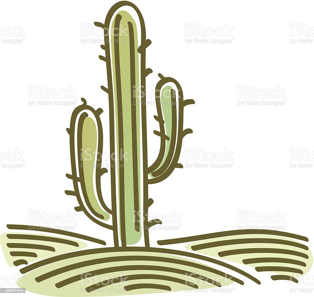 landscape with cactus vector art illustration
