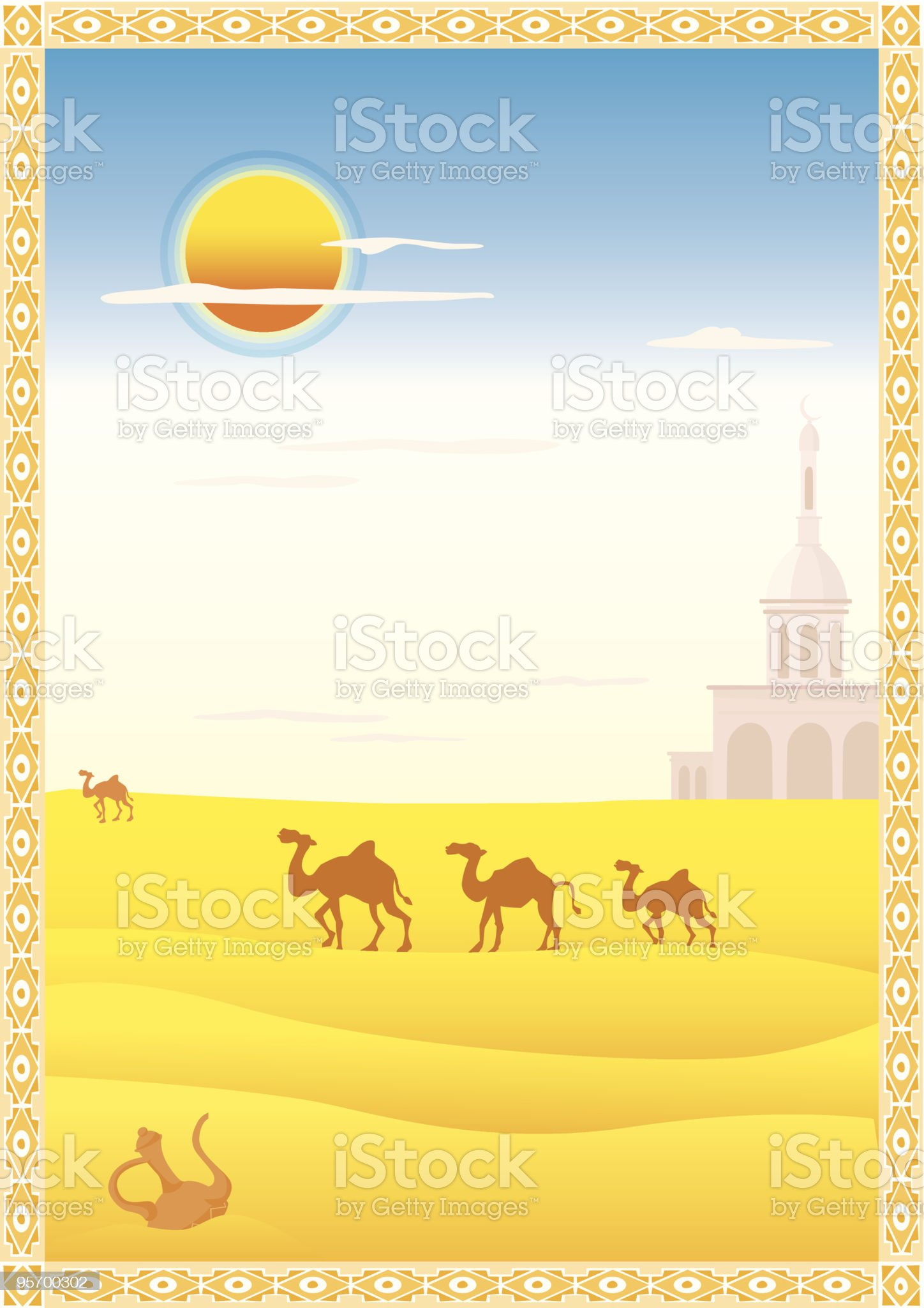 Landscape with camels royalty-free stock vector art