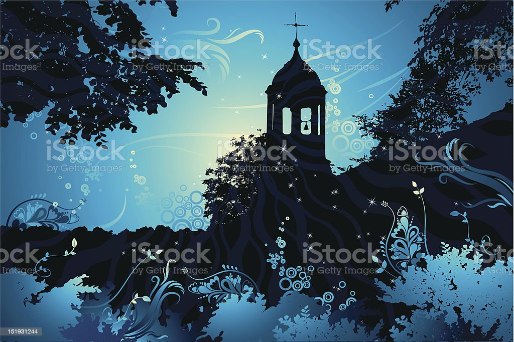 landscape with church, vector vector art illustration