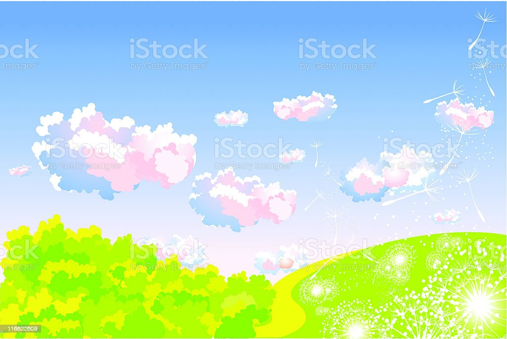 landscape with dandelion royalty-free stock vector art