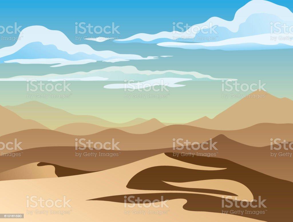 Landscape with desert vector art illustration