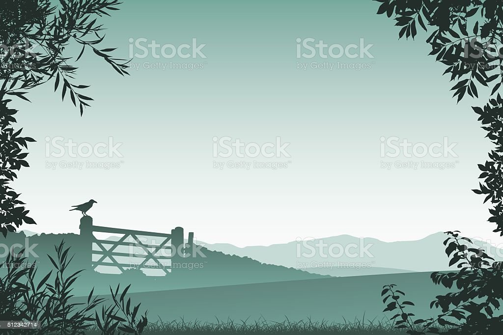 Landscape with Farm Gate vector art illustration
