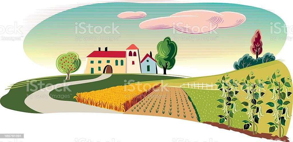 landscape with farm royalty-free stock vector art