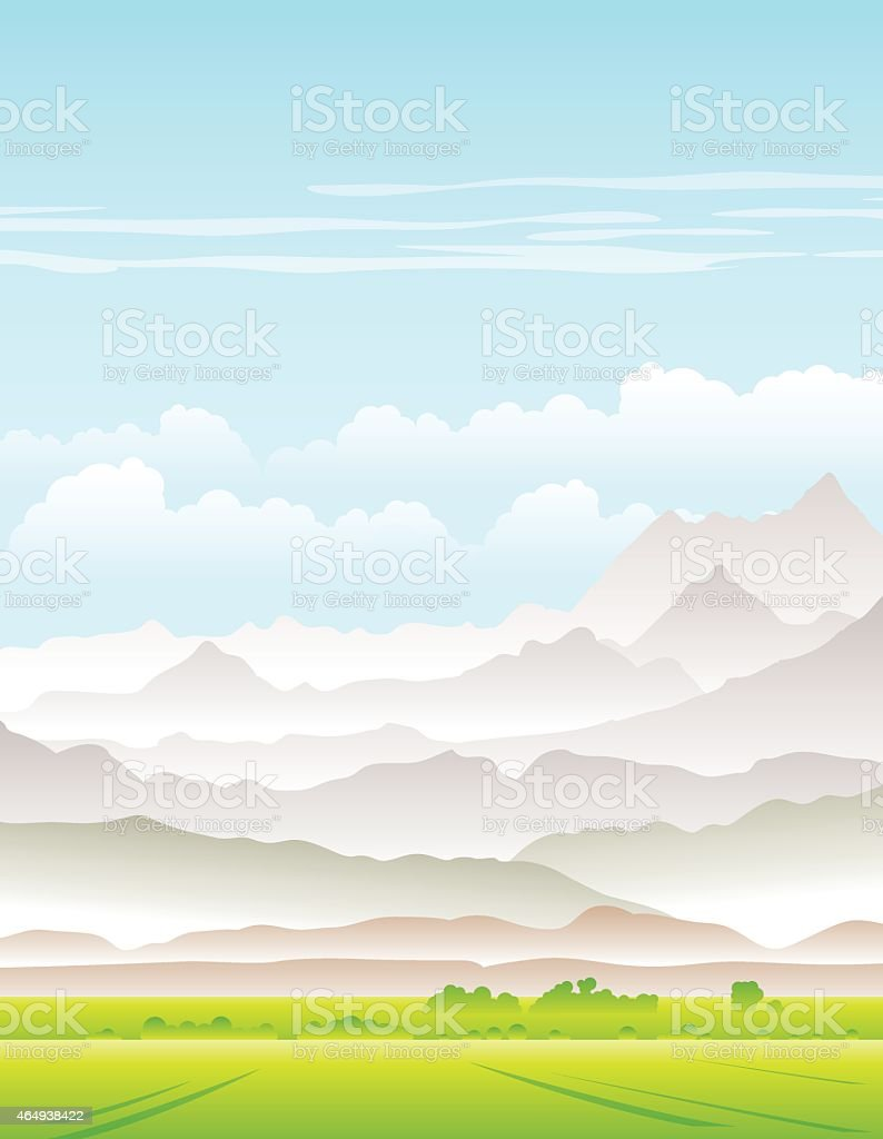 Landscape with fields and mountains vector art illustration