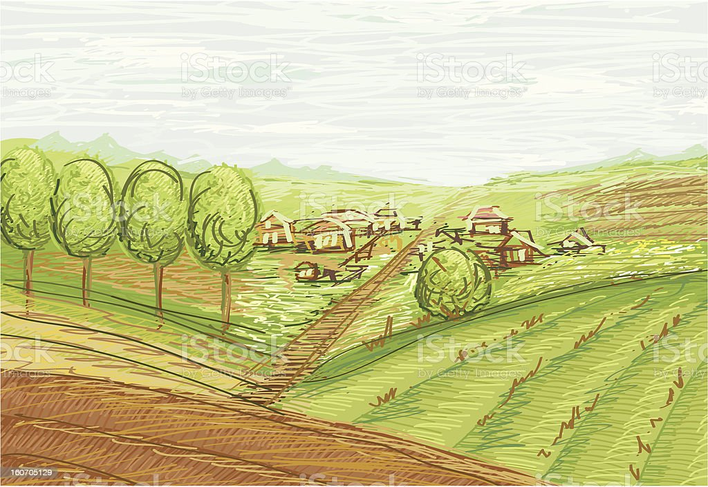 landscape with fields and village vector royalty-free stock vector art