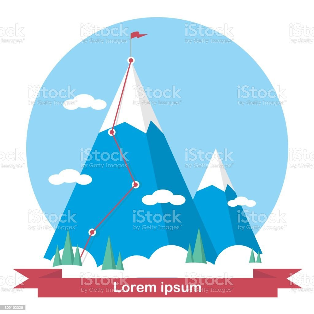 Landscape with flag on the mountain. Success in business. Vector illustration. vector art illustration