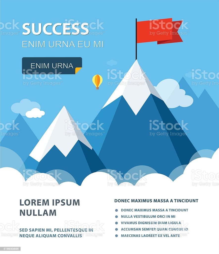 Landscape with flag on the mountain. vector art illustration