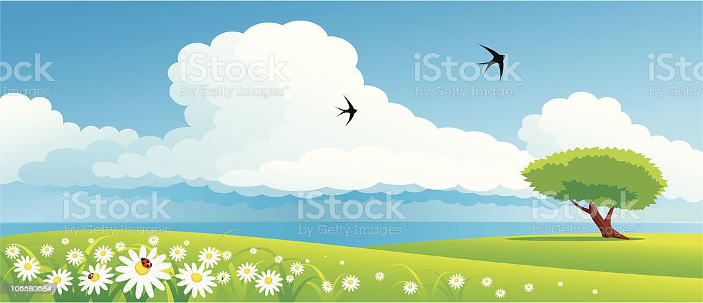 landscape with flowers royalty-free stock vector art