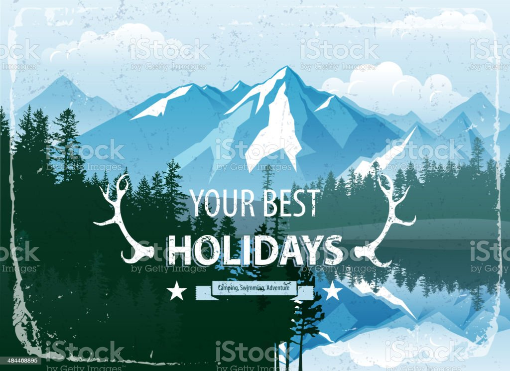 landscape with forest and mountains vector art illustration