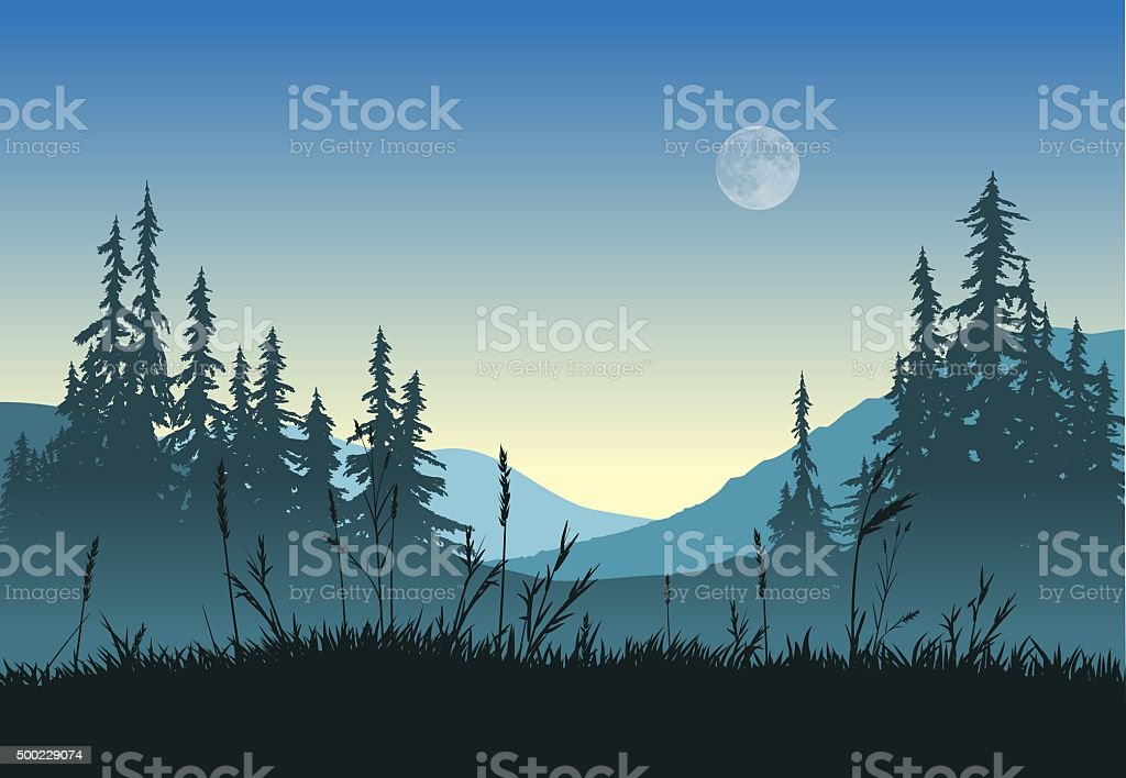 Landscape with full moon vector art illustration