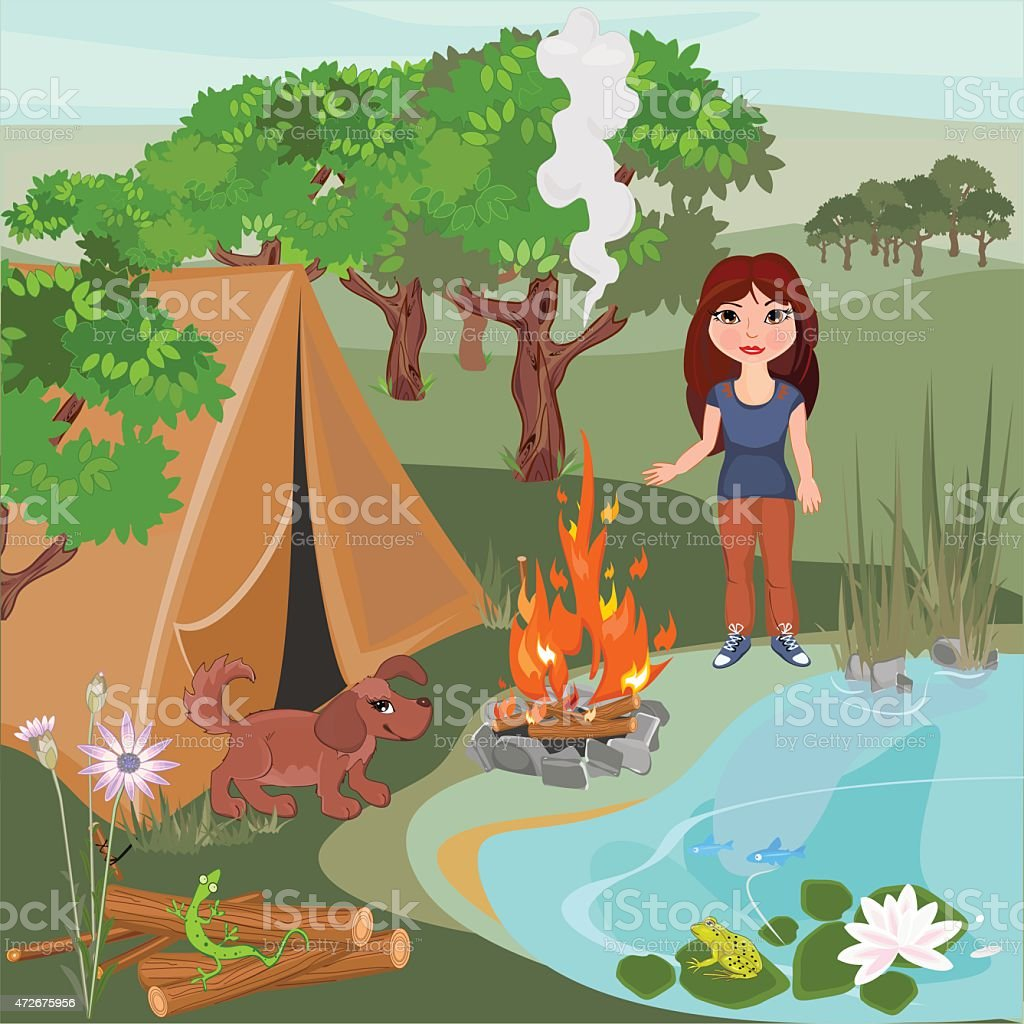 Landscape with girl and puppy vector art illustration