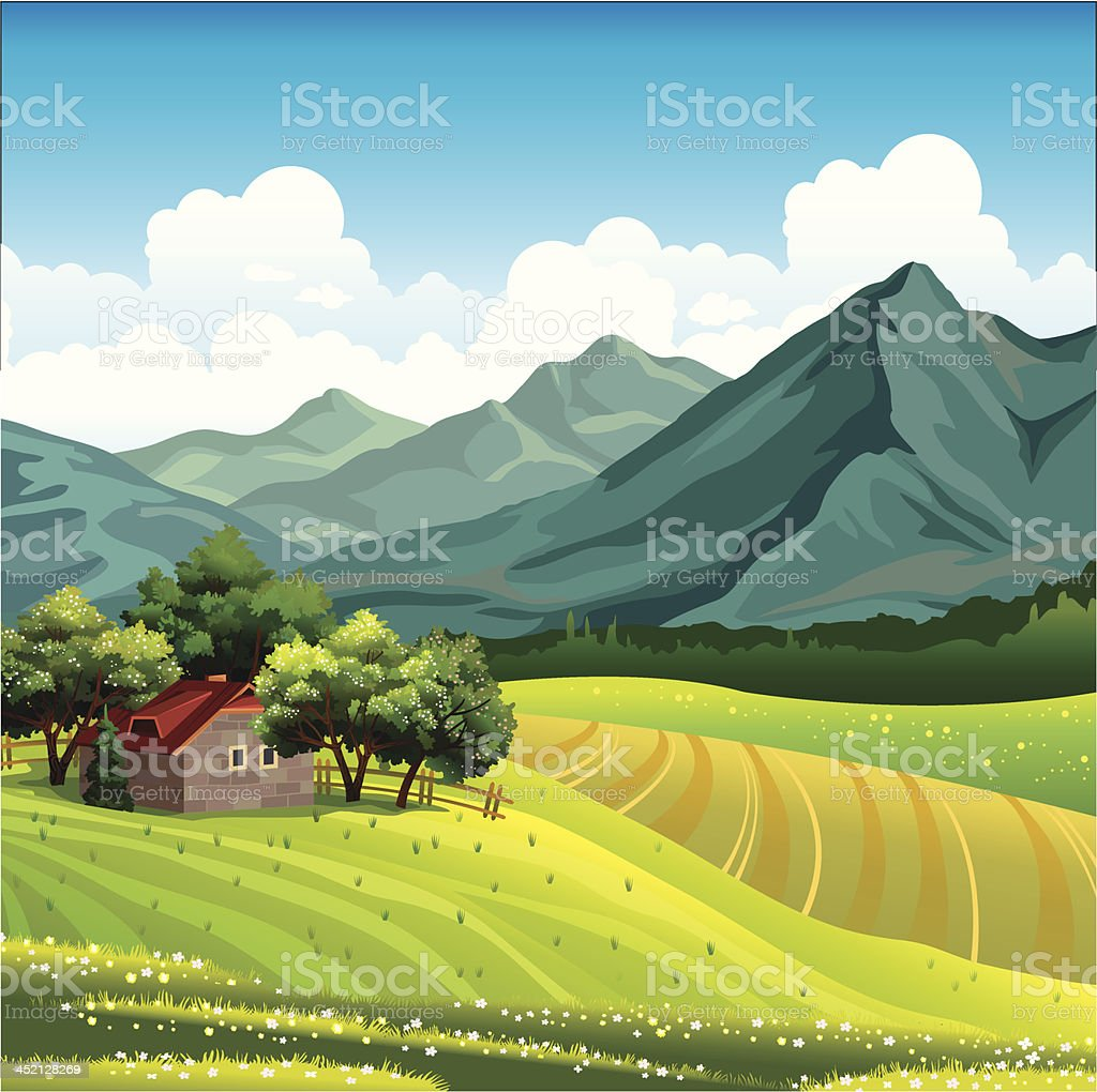 Landscape with green field and wooden house royalty-free stock vector art