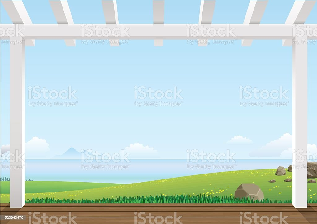 Landscape with green hills vector art illustration