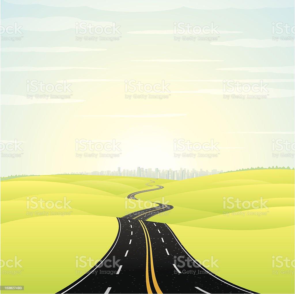 Landscape with Highway vector art illustration