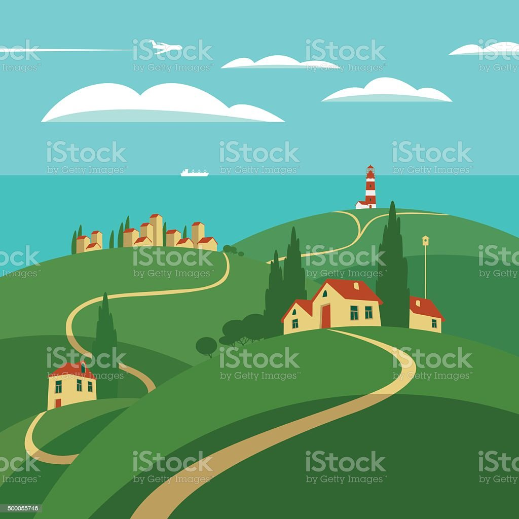 landscape with hills and sea vector art illustration