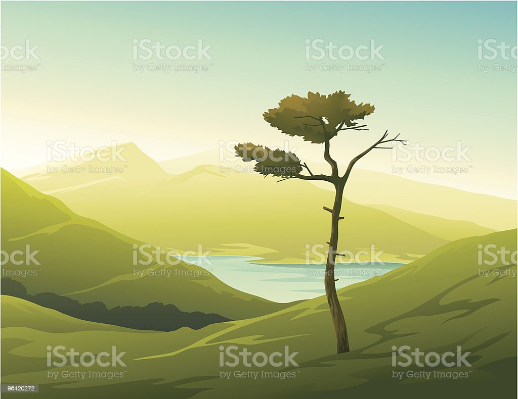 Landscape with Lonely Tree royalty-free stock vector art